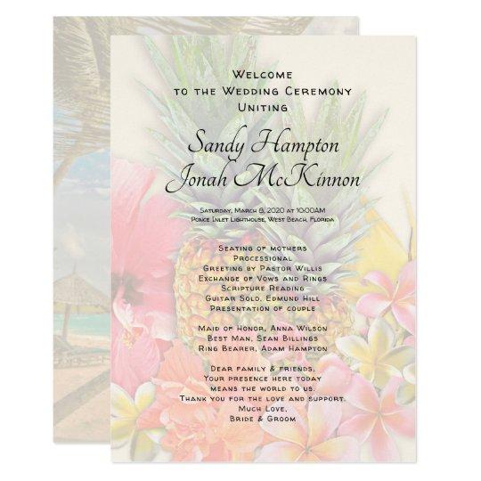 Hawaiian Flowers Pineapples Short Ceremony Program