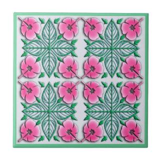 Hawaiian flowers tropical ornament tile