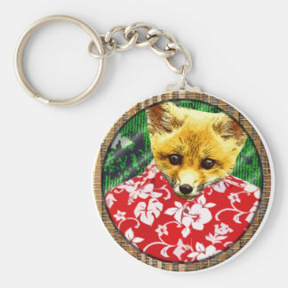 hawaiian fox round key chains