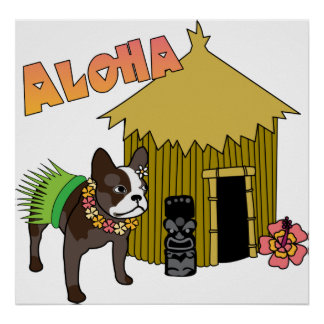 Hawaiian French Bulldog Hula Tiki Posters