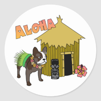 Hawaiian French Bulldog Tiki Hula Stickers