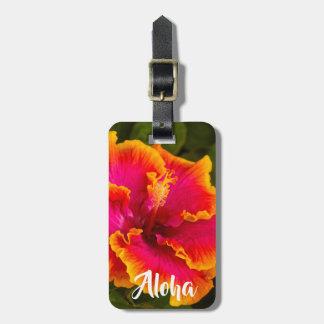 Hawaiian Fuchsia and Orange Hibiscus Kauai - Aloha Luggage Tag