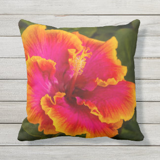 Hawaiian Fuchsia Hibiscus from Kauai Outdoor Outdoor Pillow