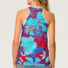 HAWAIIAN GETAWAY STYLE BOLD COLORS FLORAL PATTERN TANK TOP