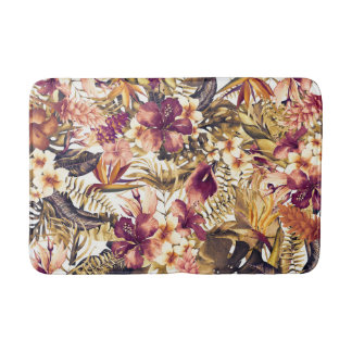 Hawaiian Golden Tropics Elegant Vintage Modern Bath Mat
