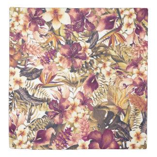 Hawaiian Golden Tropics Elegant Vintage Modern Duvet Cover