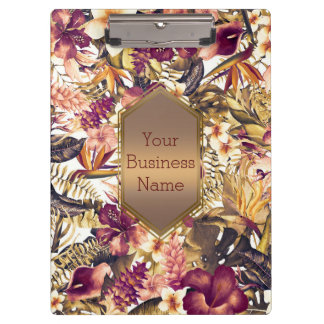 Hawaiian Golden Tropics Vintage Glam Personalized Clipboard