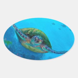 Hawaiian Green Sea Turtle Tropical Fish Reef Oval Sticker