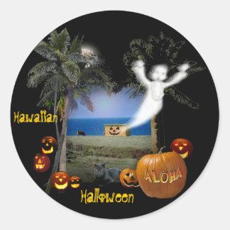 Hawaiian Halloween Classic Round Sticker