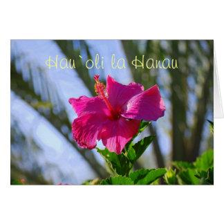 Hawaiian Happy Birthday Hot Pink Hibiscus Card