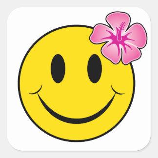 Hawaiian Happy Face Square Sticker