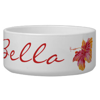 Hawaiian Hibiscus Flower Large Pet Bowl