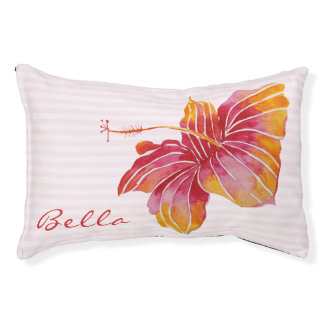 Hawaiian Hibiscus Flower  Personalized Dog Bed
