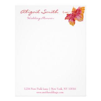 Hawaiian Hibiscus Flower Personalized Letterhead