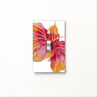 Hawaiian Hibiscus Flower Single Toggle Light Switch Cover