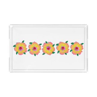 Hawaiian Hibiscus Flowers Acrylic Tray