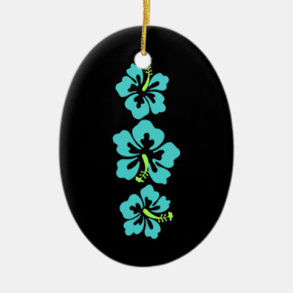Hawaiian Hibiscus Flowers Ceramic Ornament
