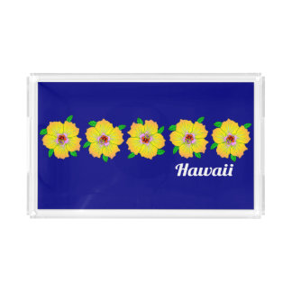 Hawaiian Hibiscus Flowers Hawaii Acrylic Tray