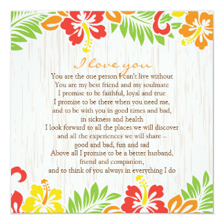 "Hawaiian Hibiscus Flowers Horizontal 5.25"" Square Invitation Card"