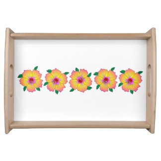 Hawaiian Hibiscus Flowers Serving Tray