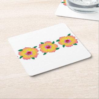 Hawaiian Hibiscus Flowers Square Paper Coaster