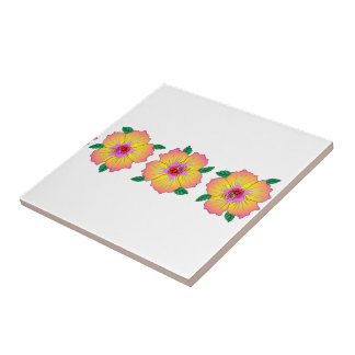 Hawaiian Hibiscus Flowers Tile
