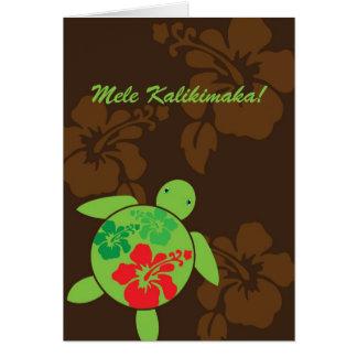 Hawaiian Hibiscus Happy Honu Folded Christmas Card