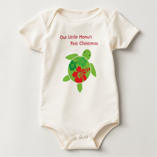 Hawaiian Hibiscus Holiday Happy Honu Baby Bodysuit