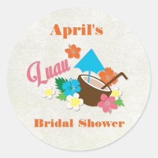 Hawaiian Hibiscus Luau Bridal Shower Sticker
