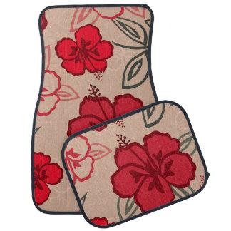 Hawaiian Hibiscus Pattern Red Car Mat