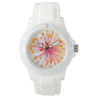 Hawaiian Hibiscus Sporty White Silicon Watch