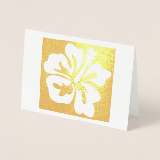 Hawaiian Hibiscus Tropical Floral Flower Bloom Foil Card