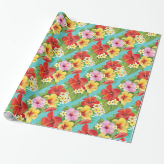 Hawaiian Hibiscus Tropical Islands Theme Wrapping Paper