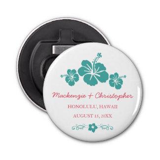 Hawaiian Hibiscus Wedding Button Bottle Opener