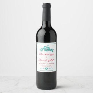 Hawaiian Hibiscus Wedding Wine Label