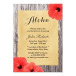 """Hawaiian Hibiscus Wood Bridal Shower 5"""" X 7"""" Invitation Card"""