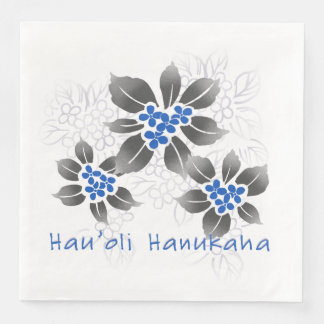 Hawaiian Holly Hanukkah Blue Floral Paper Napkin