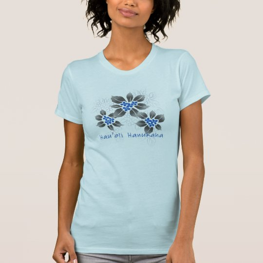 Hawaiian Holly Hanukkah Blue Floral T-Shirt