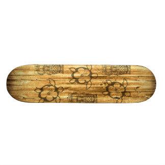 Hawaiian Honu And Tiki Mask Custom Skate Board