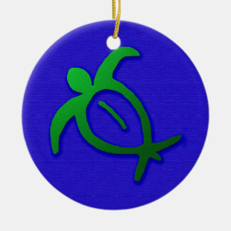 Hawaiian Honu Petroglyph on Blue Ceramic Ornament