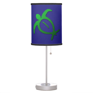 Hawaiian Honu Petroglyph on Blue Table Lamp