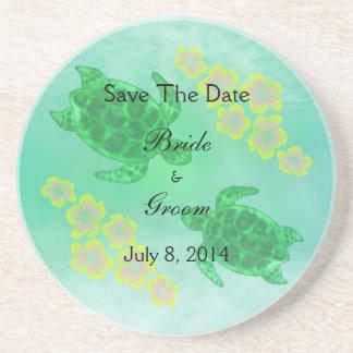 Hawaiian Honu Save The Date Coasters