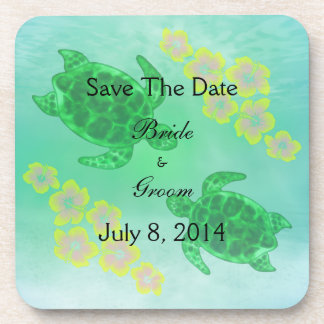 Hawaiian Honu Save The Date Beverage Coaster