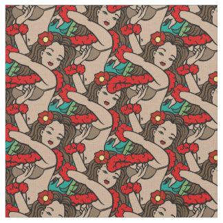 Hawaiian Hula Dancers Fabric