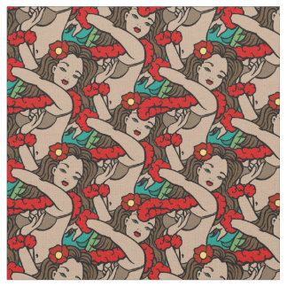 Hawaiian Hula Dancers Fabric