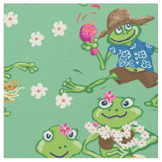 Hawaiian hula frogs shirt fabric