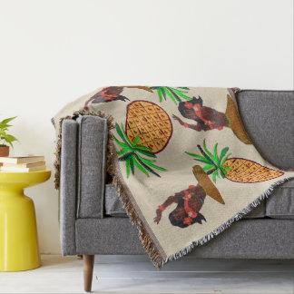 Hawaiian Hula Girl and Pineapple Throw Blanket