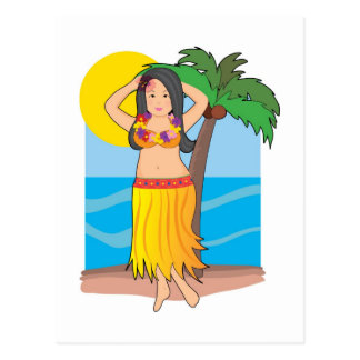 hawaiian hula girl postcard