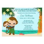 Hawaiian Hula Monkey Baby Shower invitation BOY
