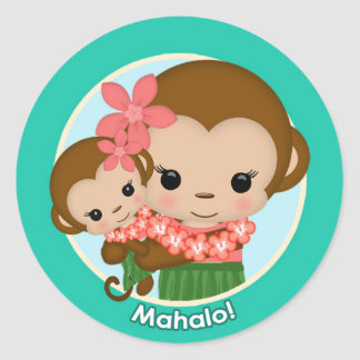 Hawaiian Hula Monkey Baby Shower sticker Mahalo